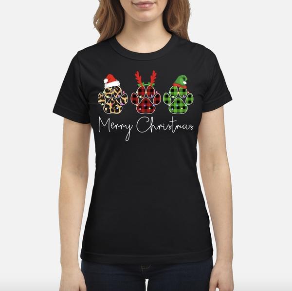 Dog Paws Merry Christmas Cute Shirt