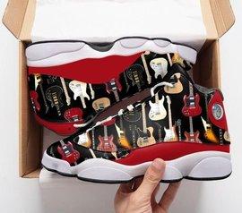 Trending electric guitar pattern all over printed air jordan 13 sneakers