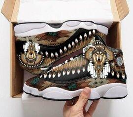 Trending native american wolf all over print air jordan 13 sneakers